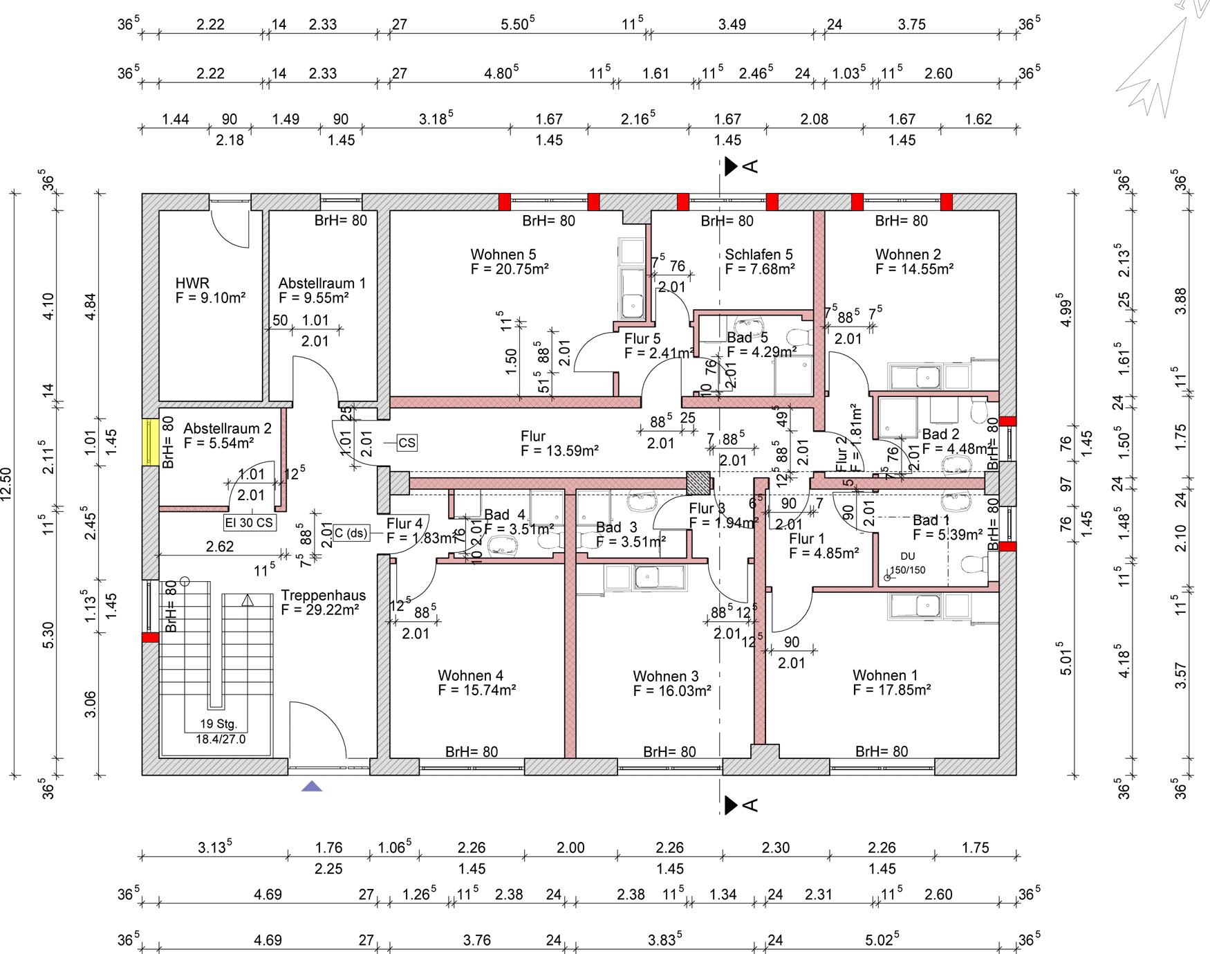 Treppenhaus Planen treppenhaus grundriss mehrfamilienhaus loopele com